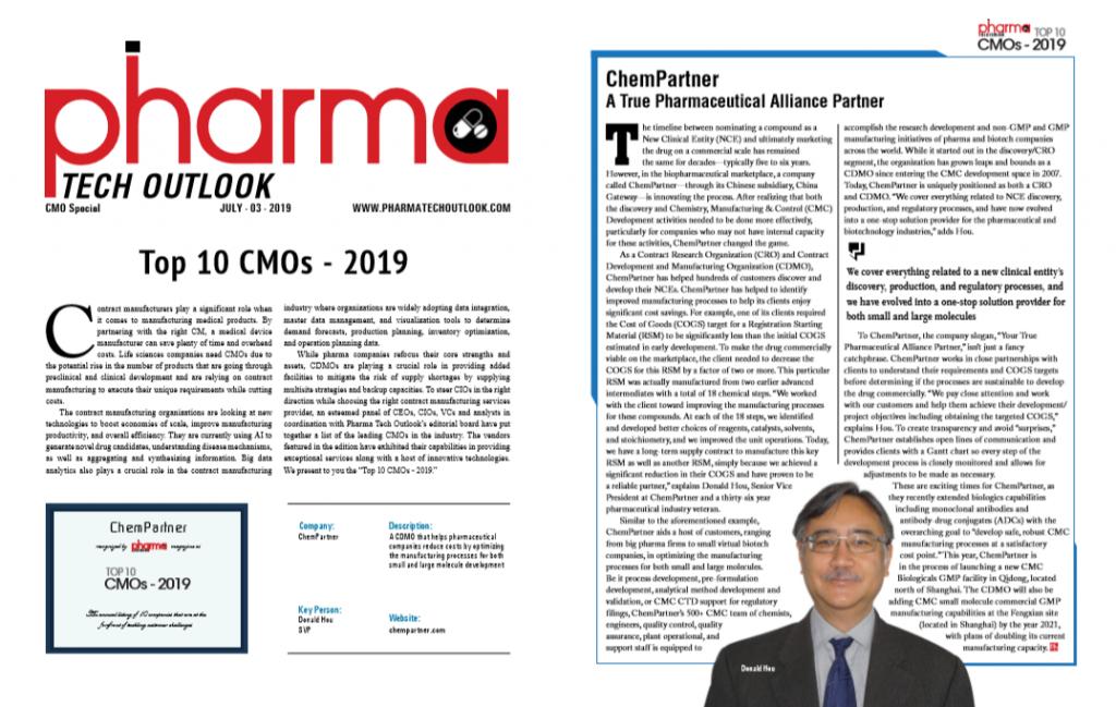 "Shanghai ChemPartner was awarded ""TOP 10 CMOs in 2019"""